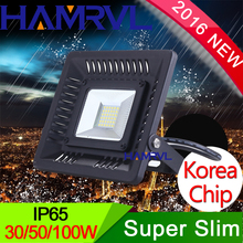 New black housing 220V Waterproof LED Flood Light Super thin100W 60W 30W Floodlight Street Outdoor Wall Lamp Garden Projector(China)