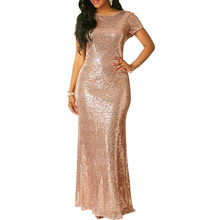 356085aeee88d LE CELEBRE Sequins Mermaid Party Dresses 2018 Rose Gold Short Sleeves Floor Length  Formal Dress New Winter Long Female Dress