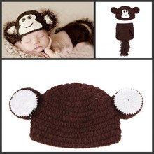 monkey prop set Photography props Accessories monkey Toy monkey hat Crochet baby hat Knit Wrap