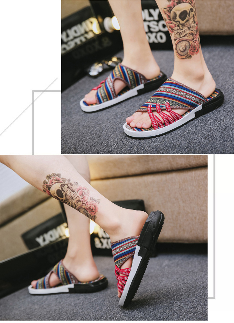 Fashion National style Men Slippers Casual Male Cotton Fabric Summer Outdoor Beach Shoes Non-slip Indoor Floor Leisure ShoesZ172 18 Online shopping Bangladesh