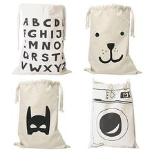 Cute Baby Toys Storage Canvas Bags Batman Bear Pattern Laundry Bag Pouch,Baby Kids Toys Storage Bag Cute Wall Pocket(China)