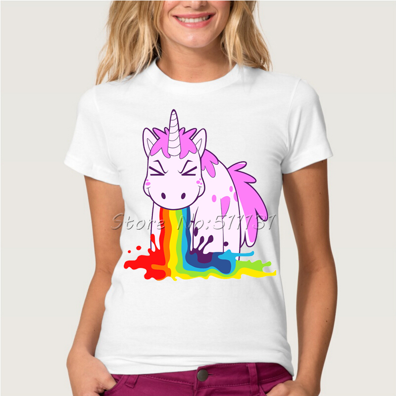 Newest Funny Unicorn Rainbows T-Shirt Summer Harajuku Cartoon T Shirt Womens Fashion Novelty Short Sleeve Tee Tops Clothes(China (Mainland))