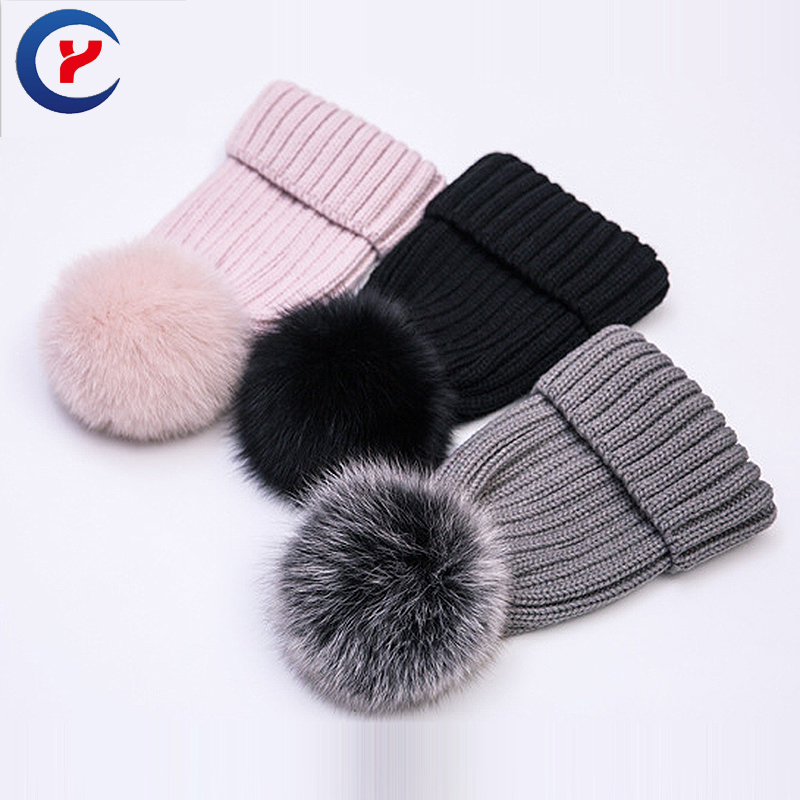 High Quality Fashion Winter Knitted Hat Cute Casual hat For women Keep warm With Fox fur pompons Outdoor Leisure Cap #x40Одежда и ак�е��уары<br><br><br>Aliexpress
