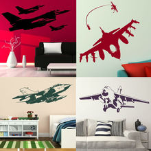 E348.4 Wall Stickers Home decor DIY poster Decals for kids room Aeroplane mural Air combat Fighter plane Jet Helicopter Army