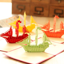 New Creative Sailing Boat 3D Paper Laser Cut Pop up Handmade Post Cards Christmas Gift Greeting Cards Souvenirs Party Supplies
