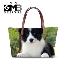 Fashion Animal Dog Print Women Shoulder Bag Border Collie Handbag Women Bags 2016 Designer Beach Bag High Quality Bolsa Feminina