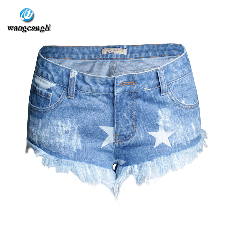 2017 women summer pants Holiday nightclub shorts women hot pants Star print tassel low waist Womens denim shoes Denim shortsÎäåæäà è àêñåññóàðû<br><br>