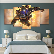 HD Printed Canvas Poster Frame Home Decor Living Room Wall Art 5 Pieces Fantasy Flame Steel Soldier Painting Modular Pictures(China)