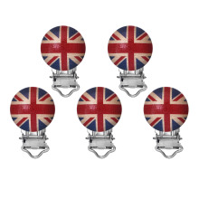 5 Natural Color Round Wood Baby Pacifier Clip Holders UK Flag Pattern Infant Soother Clasps Funny Accessories 47x29mm
