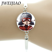 JWEIJIAO Miraculous Ladybug Bracelet Children Lady bug Girl Chain Bracelet Bangle Silver Color Birthday Party Jewelry Gift LB24(China)