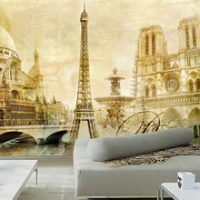 Custom Any Size 3D Photo Wallpaper Retro Nostalgia France Famous Attractions Notre Dame Eiffel Tower Wall Mural For Bedding Room