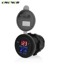 Onever 2.1A USB Socket Car Charger Outlet with Voltmeter Modification Accessory for Motorcycle Motor Truck ATV Boat 12-24V