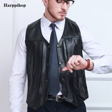 2017 Autumn Winter Black Genuine Leather Vests Sleeveless Leather Jacket Men Sheepskin V-Neck Single Breasted Thin Vest(China)