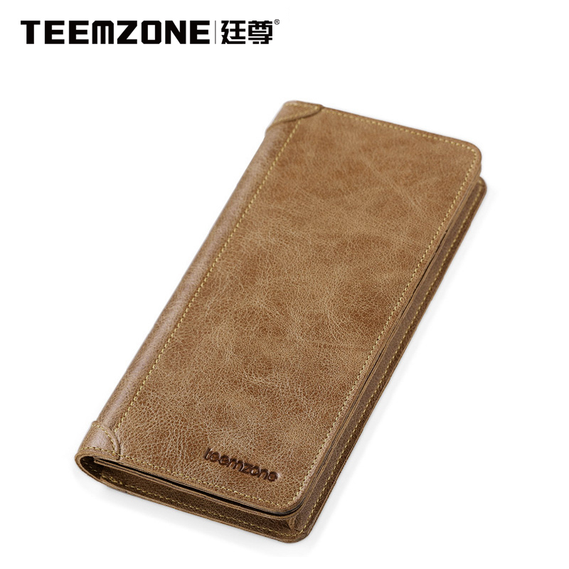 Women Wallet Teemzone Brand Men Genuine Leather Wallets Mens Cowhide Purse Credit Card Holder Mens Vintage Wallet Free Shipping<br>