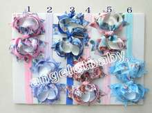 "60pcs 4"" Bowknot hair accessories for girls bows flower  headband flower on Iridescent hair band african gele SG8628"
