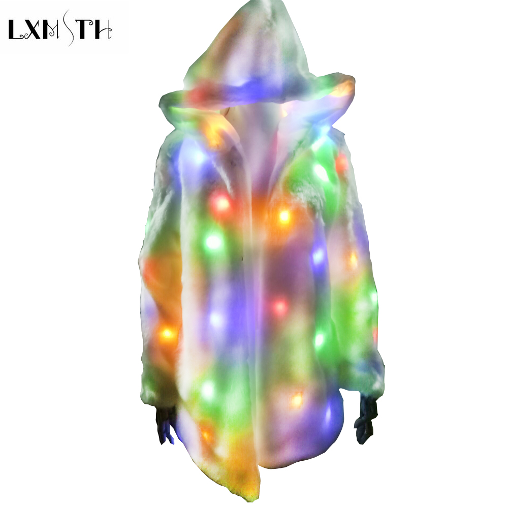 LXMSTH 2019 New Fashion Faux Fur Coat with LED Luminous Light Jacket Thick Warm Far Long Party Wear Dance Show Coats with Hooded