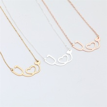 Women Fashion Rose Gold/Gold/Silver Plate Medical  Heart Collar Body Chain Necklace Jewelry stainless Necklaces Pendants