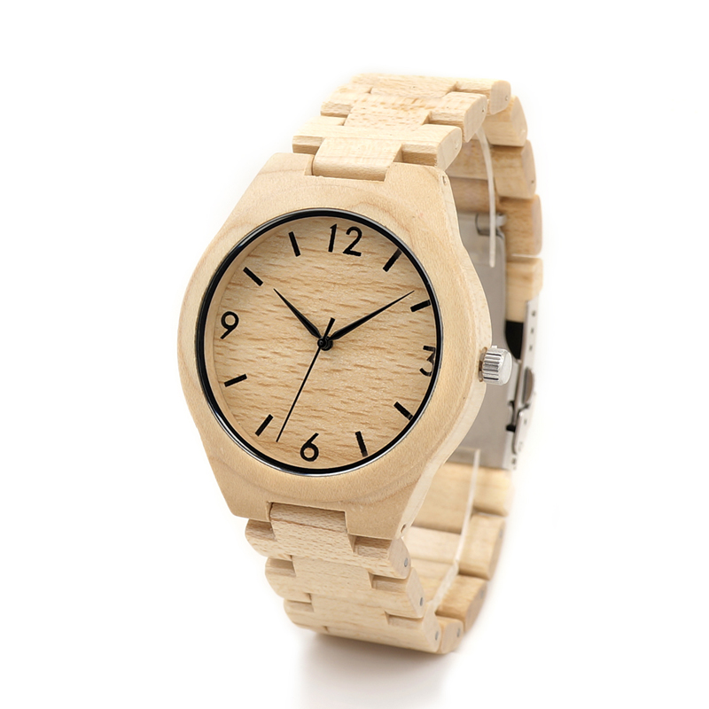 BOBO BIRD H01 Mens White Maple Wooden Watch with Maple Wood Links Causal Wood Quartz Wrist Watch for Men in Gift Box<br><br>Aliexpress