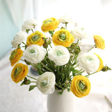 1PC Ranunculus flower artificial Flowers Small Daisy Wedding Bouquet Party Home Decor fake floral with leaf Ranunculus asiaticus