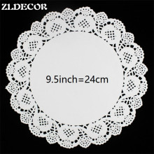 ZLDECOR SS016053 9.5 inch (180pcs) Romantic Embossed Round White Paper doily Cake Doilies Free shipping(China)