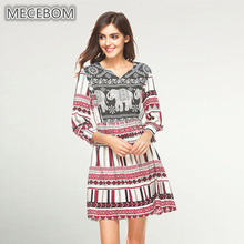 Women's dresses fashion Bohemian style long sleeve summer beach stripe dress a-line sexy lady casual dresses 066c(China)