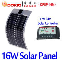 DOKIO Brand 16W 18V Flexible Solar Panel China + 10A 12V/24V Controller 16 Watt Flexible Solar Panels Cell/Module/System Charger