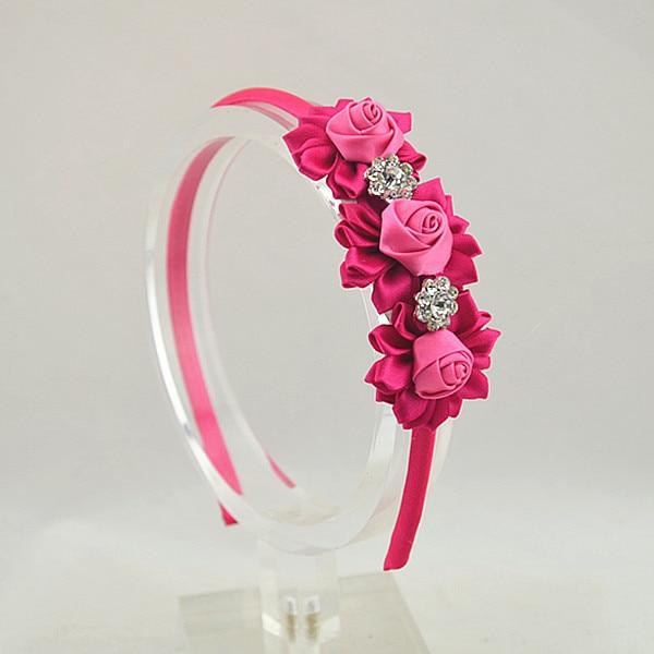 2014 DIY Trail order satin rose with rhinestone headwear satin ribbon flower hairbands hair accessory  3pcs/lot<br><br>Aliexpress