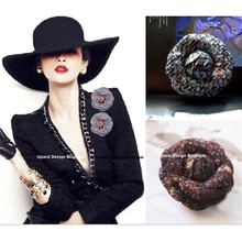 Luxury Vintage style Wool Tweed Camellia Flower Pin brooch with Gift box Celebrity love