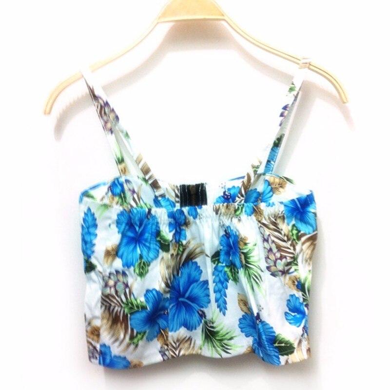 Women Girl Summer Sea Beach Music Festival Freedom Padded Bra Floral Zipper Crop Tank Tops Blouse