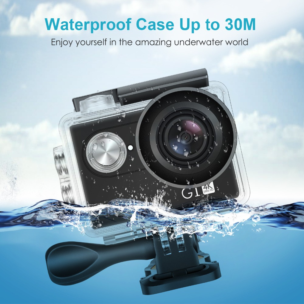 Neewer G1 Ultra HD 4K Action Camera Waterproof Camera 170 Degree Wide Angle WiFi Sports Cam Sensor 2-inch Screen Accessories Kit 10