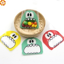 50PCS 7X7CM 3Colors Cute Cartoon Monster Cookie&Candy Bag Self-Adhesive Plastic Bags For Biscuits Snack Baking Package Supplies