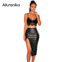 Ailunsnika 2017 New Summer Women Sexy Clubwear Top Fashion Off Shoulder Black Lace Trim Velvet Bralette Crop Top DL250012