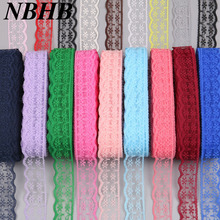 NBHB African lace ribbon 10 yards/lot 20 mm wide DIY accessories 17 color embroidered lace fabric wedding party decoration(China)