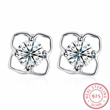 Big Clover Earring For Women 100% 925 Sterling Silver Jewelry Classic Four Leaf Clover Earring Christmas Gift Good Quality(China)