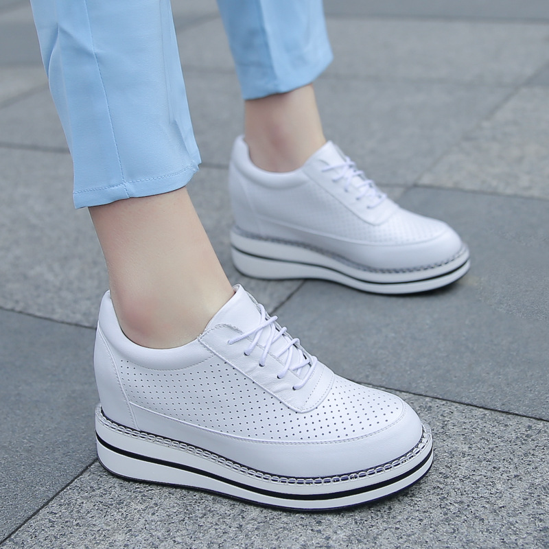 2018 Spring Autumn Women Platform Sneakers Women Brogue Shoes Lace Up Soft Leather Creepers Ladies Oxford Shoes For Women Flats