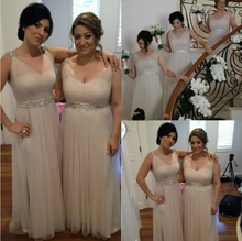 Elegant Champagne Bridesmaid Dresses V Neck Sequins Crystals Pleats Tulle Long Maid Of Honor Dress Cheap For Wedding Occasion