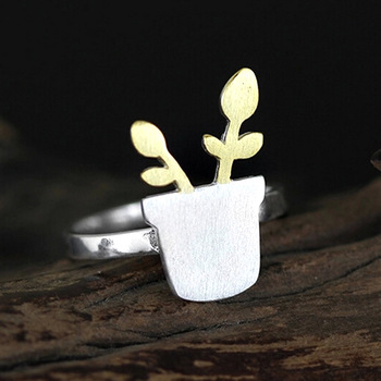 1Pcs 925 Sterling Silver Flower Pot Potted Shape Open Rings For Women Fashion Lady Hypoallergenic Midi Finger Ring Jewelry