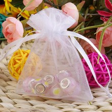 100 X Organza Jewelry Pouch Wedding Party Favors Candy Gift Bags 7 x 9cm White(China)