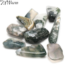 KiWarm 10Pcs Green Tree Agate Tumbled Crystals Gemstone Healing Stone Rocks for Home Terrarium Shop Display Ornaments 15-25mm