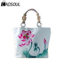 LADSOUL Chinese Style women handbag Casual canvas prints lady landscape lotus concise beading shoulder elegant bags A3529/h(China)