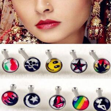 24Pcs Free Display Box Silver 316L Stainless Steel 18G Circular Barbell Nostril Logo Skull Nose Ring Body Piercing Jewelry
