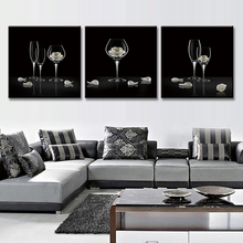 3 Pcs/Set Abstract Florals in Glasses Black Painting Prints on canvas Still Life Goblets Painting with Framed Dinning Room Decor