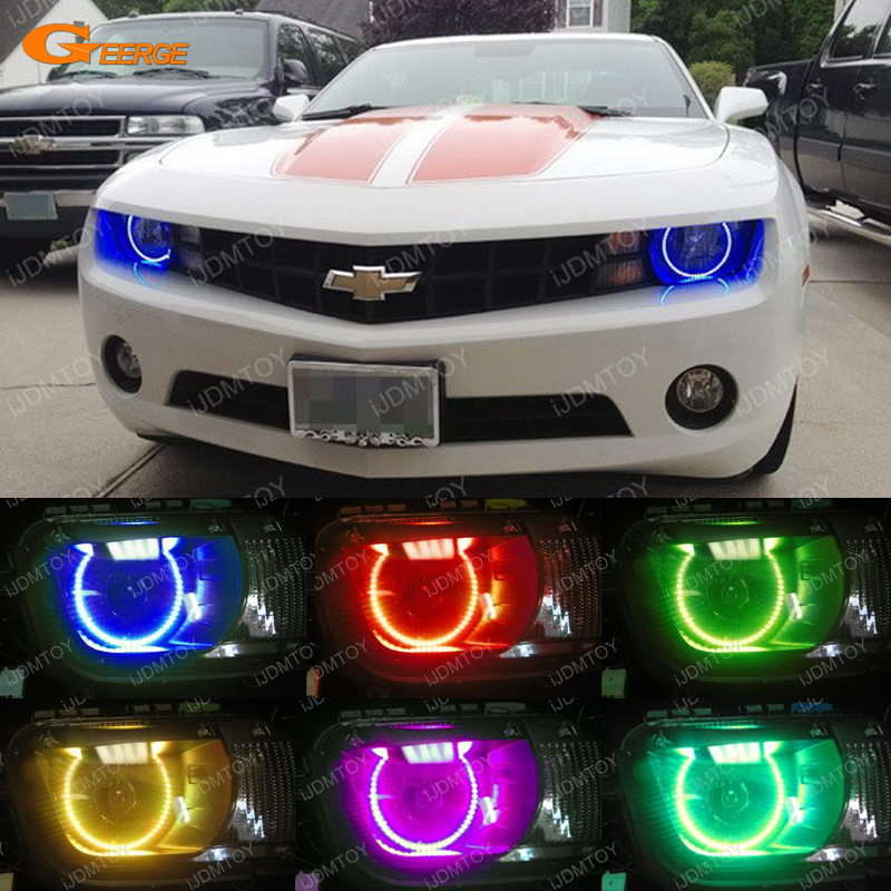 For Chevrolet Chevy Camaro 2010 2011 2012 2013 Headlight Excellent Angel Eyes Multi-Color Ultra bright RGB LED Angel Eyes kit<br>