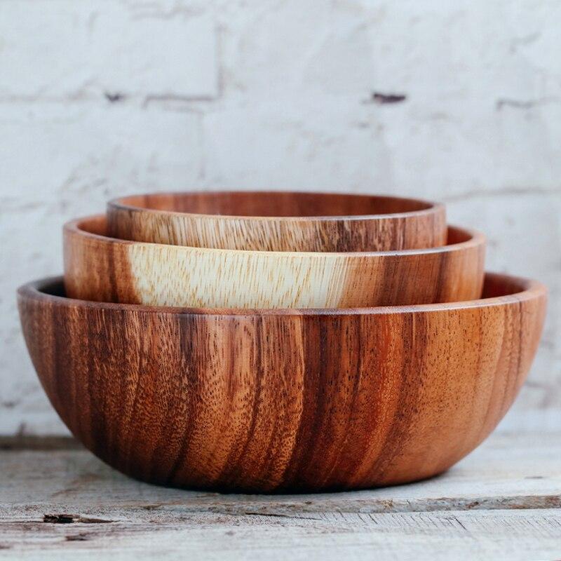 Natural Wood Noodles Rice Milk Fruit Salad Serving Bowl Handmade Tableware