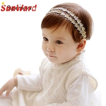2016 Rhinestone Mini Headbands girl hair accessories Girl headband cute hair band newborn floral headband WJul26 Drop Shipping