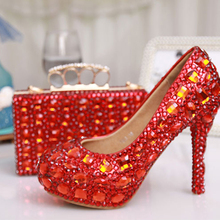 Red Color Rhinestone Party Prom Stiletto Bridal Wedding Shoes Plus Size 42 43 with Matching Bag Cinderella Shoes with Clutch Bag