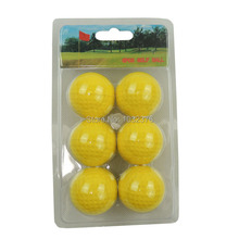 Free Shipping 6PCS Soft Indoor Practice PU Yellow Golf Balls Training Aid