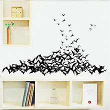 1 PC Balck Ghost Bats Group Wall Sticker Decal Home Halloween Decoration Party Wall Sticker Festival Supplies VBY90 P20(China)