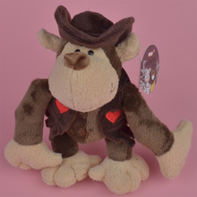 25-45cm Cowboy Monkey Animals Plush Toy, Baby Gift Kids Toy with Free Shipping(China)