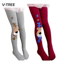 2015 Christmas clothing baby girls tights wapiti cotton tights kids girls pantyhose warm winter children's stockings 2-7Y(China)